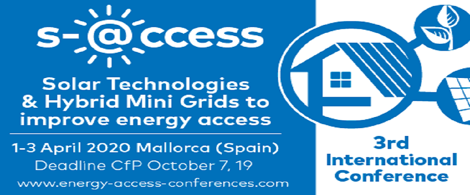 3rd Solar Technologies & Hybrid Mini Grids to improve energy access, Palma de Mallorca, April 1 - 3, 2020